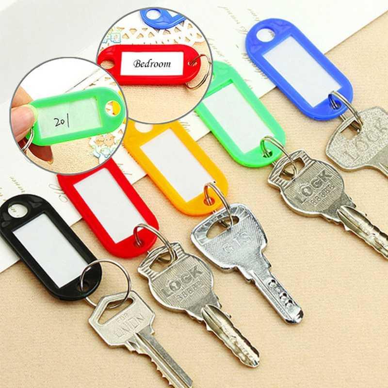 Lot z 10 plastikowych breloków do kluczy dzielony pierścień ID tagi etykieta z imieniem język etykiety
