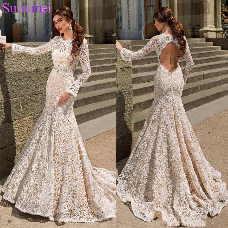 Mermaid Wedding Dresses With Sleeves: Vintage Cheap Beach Full Lace Long Sleeves Mermaid Wedding