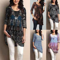 Women's Loose Long Sleeve Cotton Casual Blouse Shirt Tunic Tops Casual Blouse UK