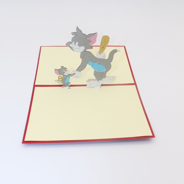 10 Pieces LotHandmade Origami 3D Pop Up MouseCat Birthday Greeting Card Lovely Tom And Jerry Gift For Childrens Day