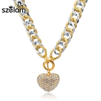 Fashion Love Charm Crystal Pendant Statement Necklace 2015 Vintage Gold Heart Necklace Chain For Women Designs