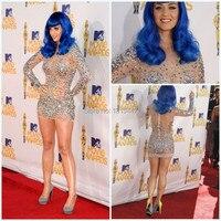 New Fashion Katy Perry Dress See Though Mini Short Celebrity Dresses Long Sleeve Sexy Vestido De