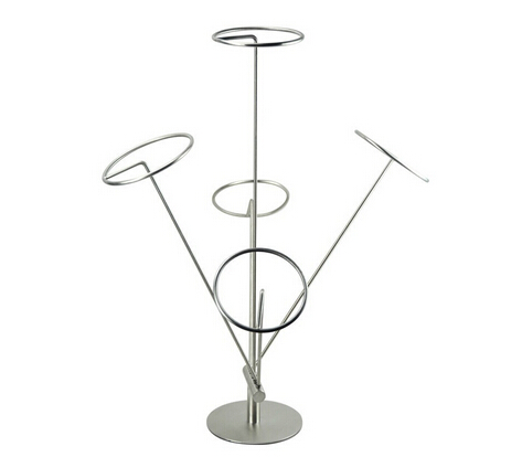 Hat Display Stand Tall Wire with Black Matte Finish