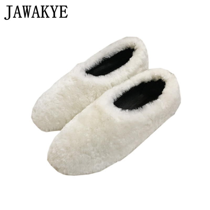 2018 newest Fall winter shoes black white lazy loafers slip on flat heel warm shoes for women comfortable fur shoes female fall winter chic women rabbit fur slippers genuine leather flat heels shoes women round toe slip on warm lazy outdoor mules