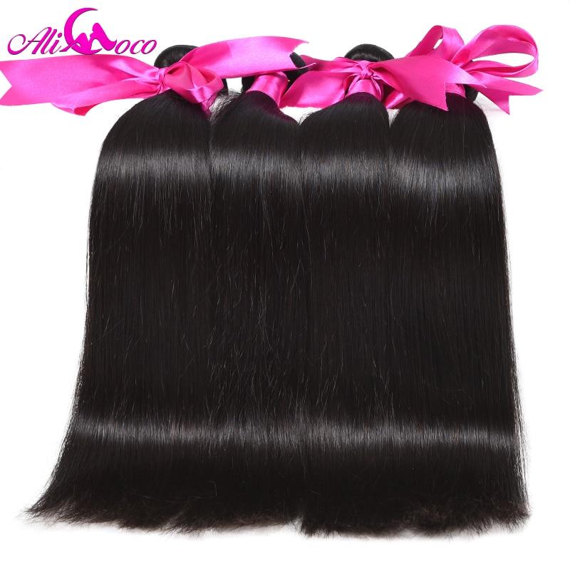 Ali Coco Peruvian Straight Hair 4 Bundles Deal 100% Human Hair Weave - Menneskelig hår (for svart)