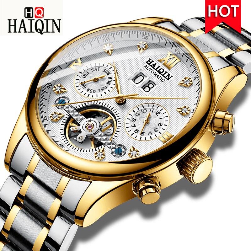 HAIQIN hommes montres automatiques mécaniques hommes montres affaires montre hommes top marque de luxe militaire étanche Tourbillon horloge