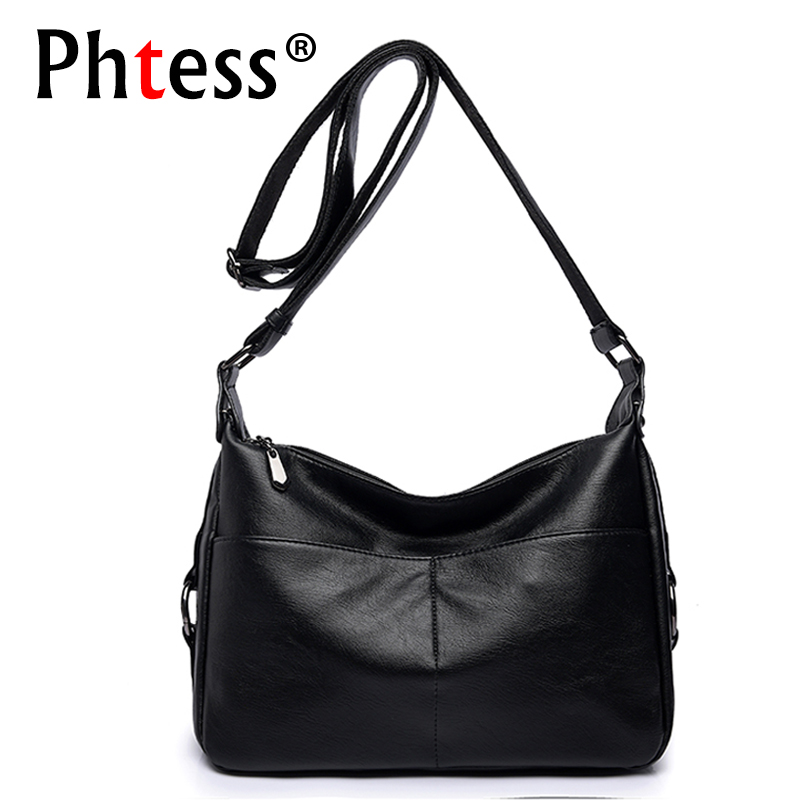2018 Women Soft Leather Shoulder Bags Female Crossbody Solid Bags Ladies Vintage Messenger Flap Bags Designer Brand Sac Femme