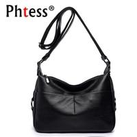 2018 Women Soft Leather Shoulder Bags Female Crossbody Solid Bags Ladies Vintage Messenger Flap Bags Designer