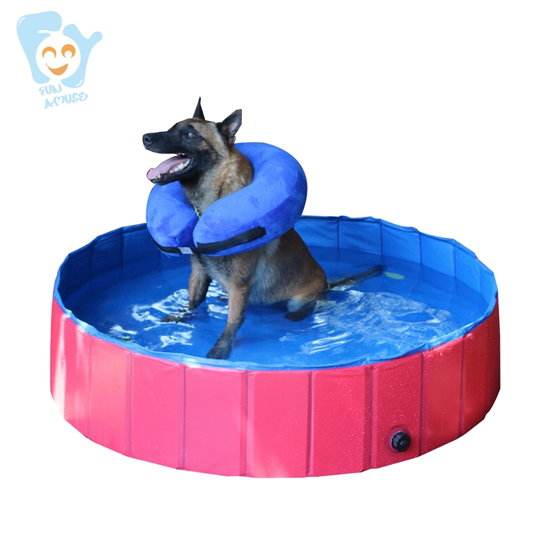 Dia 120cm H30cm Foldable Dog Pet Pool Durable PVC Tarpaulin for Medium Dog Baby Children Non Infaltable Bath Pool