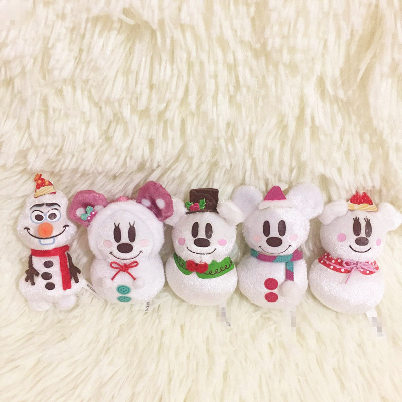 1set/lot 6cm cartoon mini mouse snowman Christmas style doll pendant Decoration of household car decoration Christmas gift