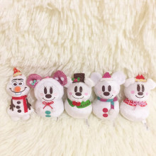 1set/lot 6cm cartoon mini mouse snowman Christmas style doll pendant Decoration of household car decoration gift
