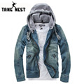 TANGNEST Cowboy New Arrival Hooded Jean Jackets Hot Seiing Fashion Slim Fit Male Asian Size Denim Jackets