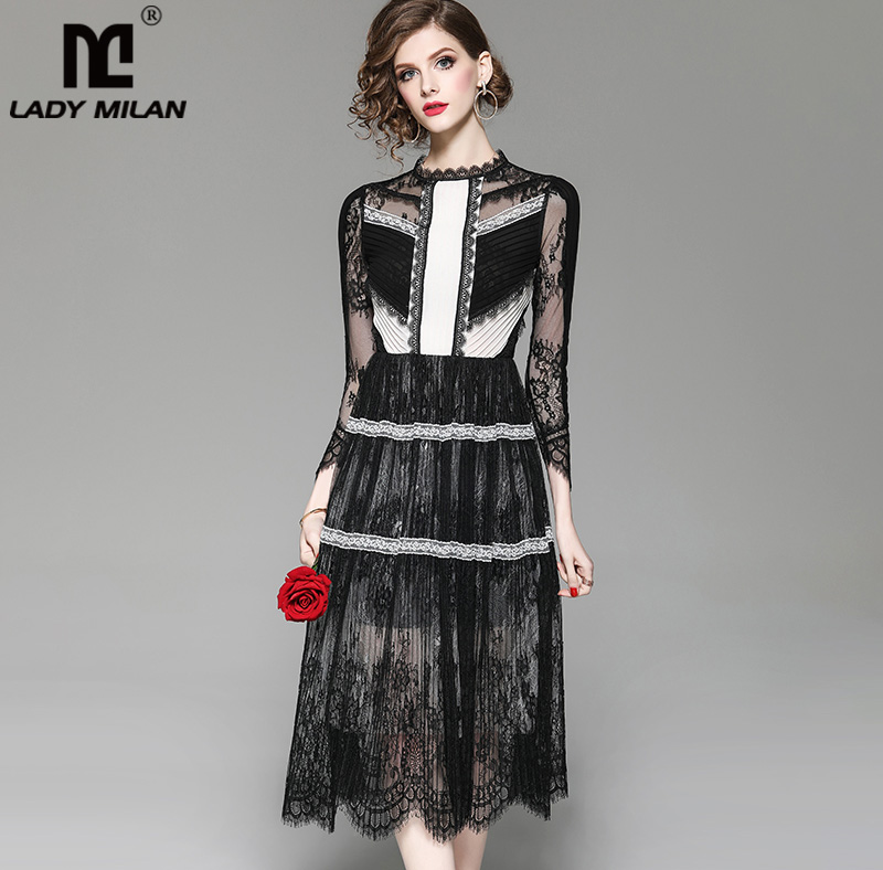 New Arrival Women s O Neck 3 4 Sleeves Embroidery Lace Patchwork Color Block Fashion Designer