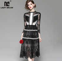New Arrival Women's O Neck 3/4 Sleeves Embroidery Lace Patchwork Color Block Fashion Designer Casual Dresses