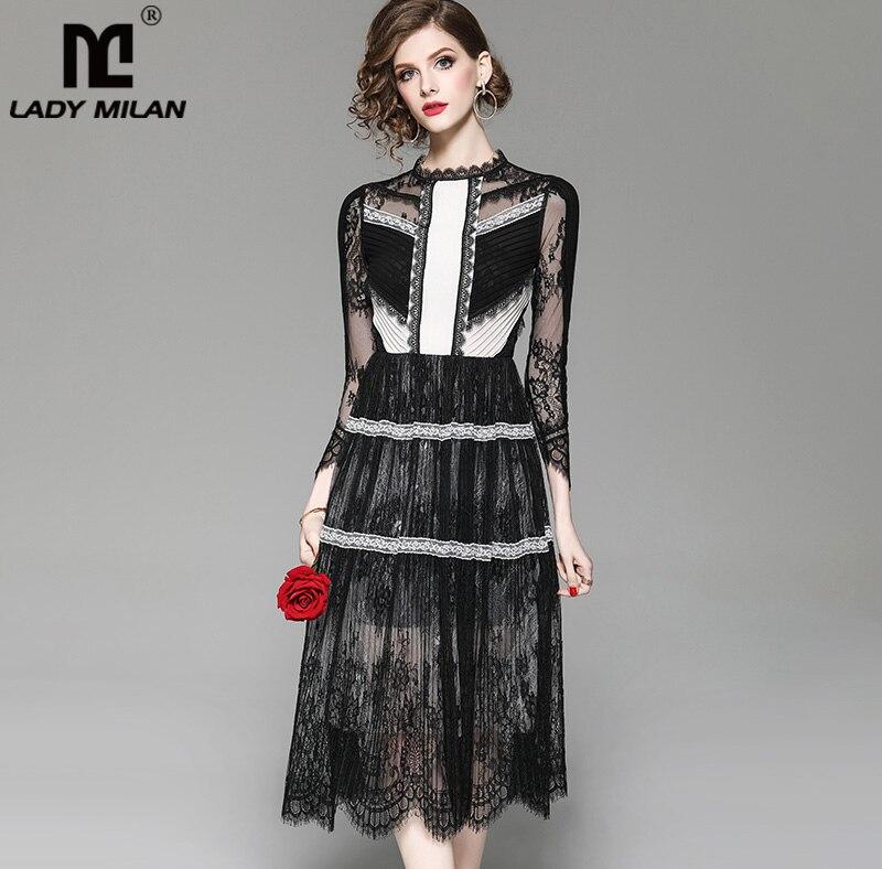 新着女性の O ネック 3/4 袖刺繍レースのパッチワークカラーブロックファッションデザイナーカジュアルドレス  グループ上の レディース衣服 からの ドレス の中 1