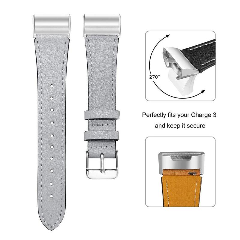 Adjustable Leather Strap For Fitbit Charge 3 Smart Bracelet Replace Band  For Fitbit Charge 3 Heart Rate Wristband Replacement