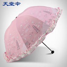 Heaven umbrella genuine anti UV sunscreen to strengthen the black plastic Princess