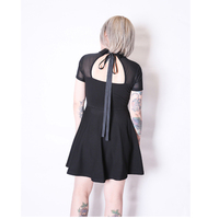 Women Punk Gothic Goth Mini Short Dress Net Yarn Splicing Back Hollow Out Lace Up Tie Black New Dresses New 2017