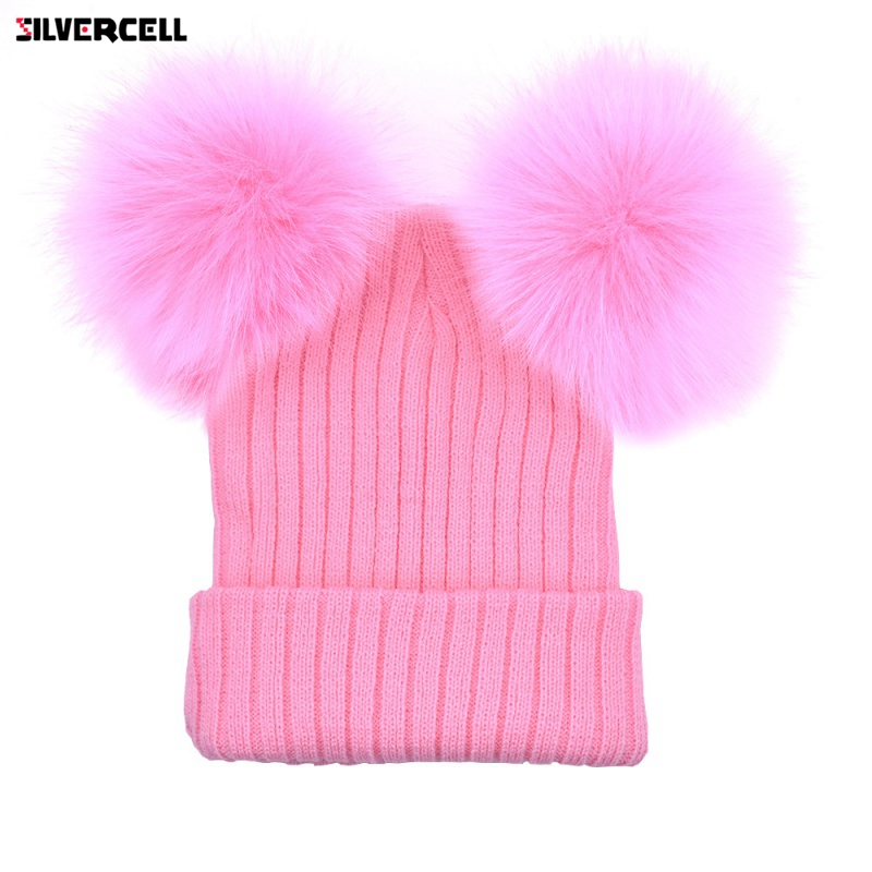378919bc9ed79e Double Fur Pom Pom Women Winter Hat Female Wool Removable Fur Ball Knitted  Beanie Cap with