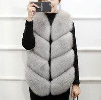 FXFURS натуральный мех жилет меховой длинный участок женщин Осень Корейская версия лисы жилет шить пальто без рукавов