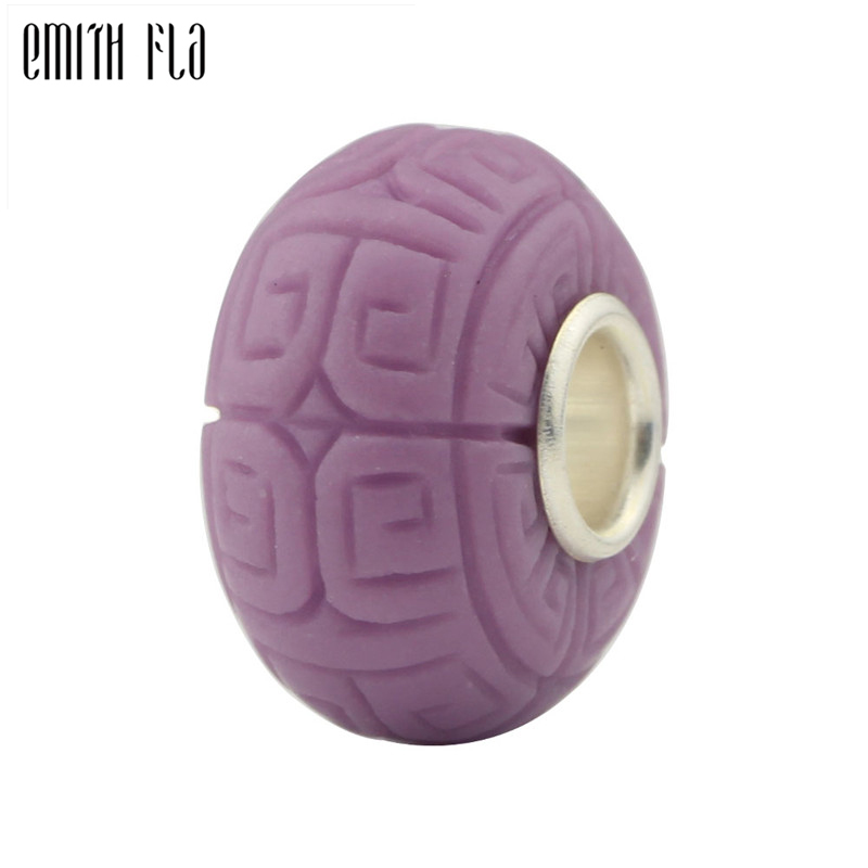 Purple Grooving Beads 925 Sterling Silver Natural Stones Fit European Charm Bracelets Round Beads For Jewelry Making Big Hole