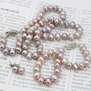 Image 4 - WUBIANLU Purpel Pearl Necklace Sets Fish Clasp 7 8mm Necklace 18 Inch Bracelet 7.5 Inch Earring Women Jewelry Making Design