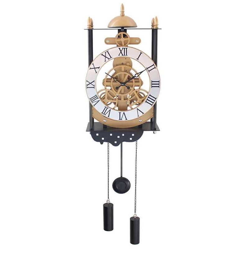 Fashional Creative Artical European Living Room Cage Gear Wall Clock-C