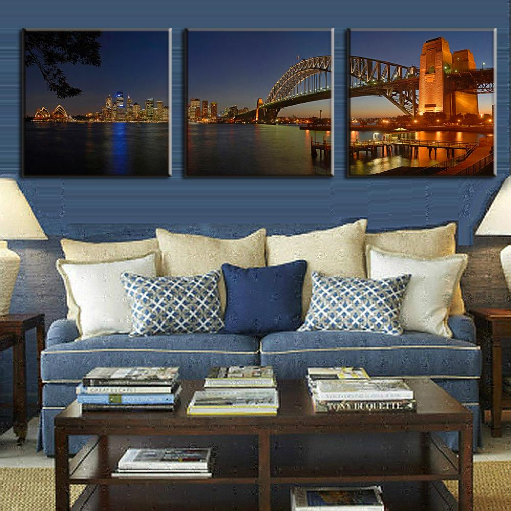 Wall Prints For Living Room Australia Us 14 39 28 Off 3 Pcs Set Landscape Sydney Harbour Bridge Night Painting Wall Pictures For Living Room Famous Australia Scenery Home Decoration In