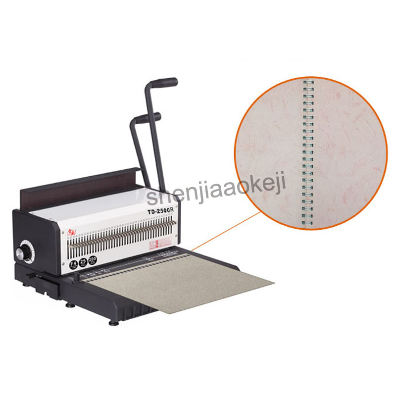 A4 paper manual Wire Binding Machine TD-2500R (Round ) iron ring binding machine desk calendar punch machine 300 sheets binding contrast binding tee
