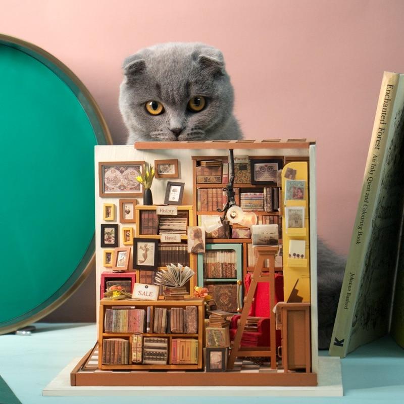 Robud Barn Vuxen DIY Miniatyr Sam Studie Doll House Modell Byggsatser - Dockor och tillbehör - Foto 3