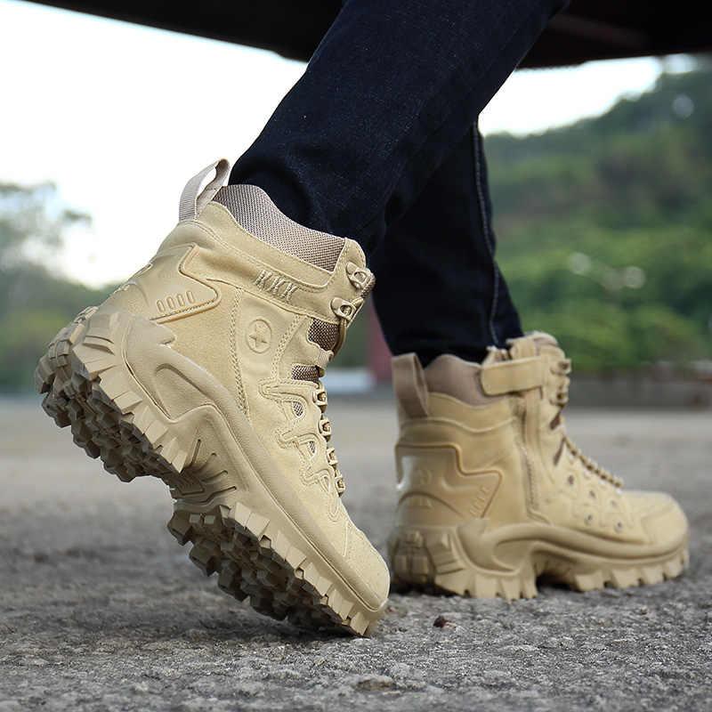 Inviernootoño de los hombres de la marca de alta calidad militar botas de cuero especial fuerza táctica de combate del desierto barcos zapatos al