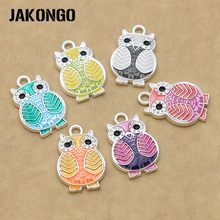 6pcs/lot Silver Plated Enamel Colorful Owl Charms Pendants for Jewelry Making Bracelet DIY Handmade Craft Accessories 20x13mm(China)
