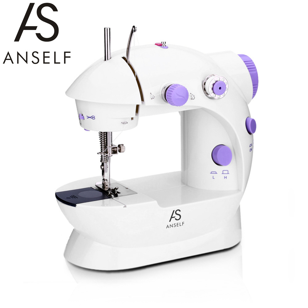 RU Portable Mini Sewing Machine with foot Dual Speed Double Thread Hand Pedal Sewing Machine with Light Electric Sewing Machines