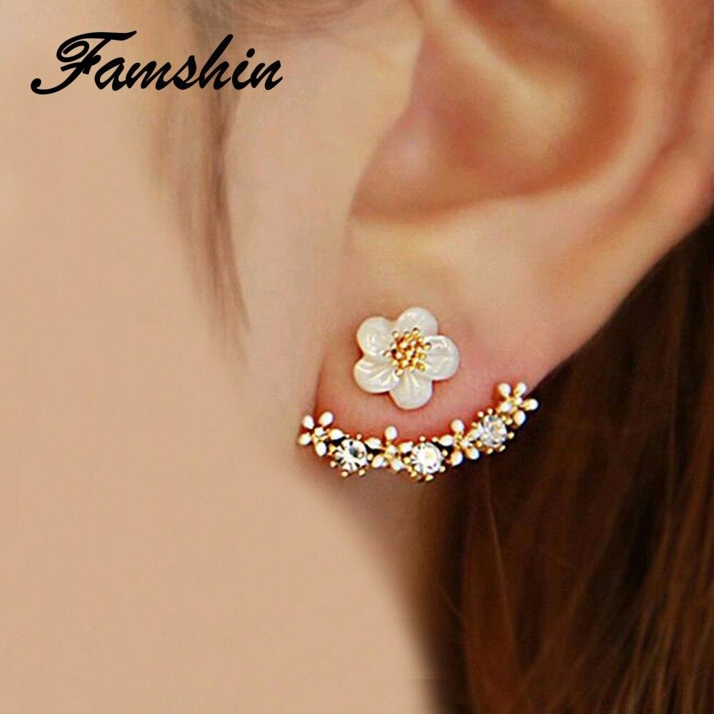 FAMSHIN Fashion Simulated Pearl Earrings Cute Cherry Blossoms Flower Stud Earrings For Women Blossoms Earrings Female Jewelry