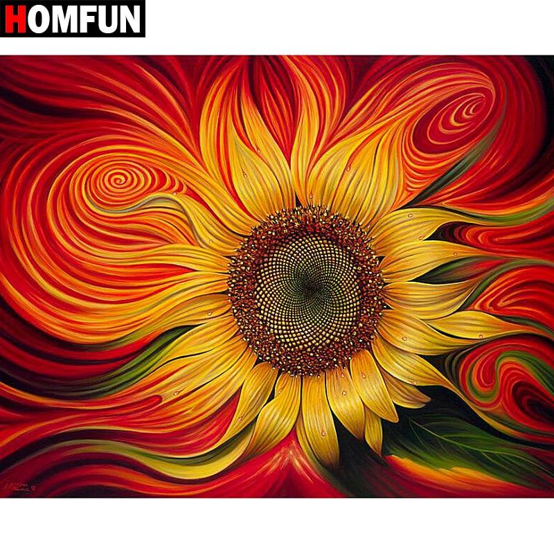 Алмазная 5D картина HOMFUN «Подсолнух», вышивка крестиком, полная выкладка, квадратная/круглая, «сделай сам», подарок для домашнего декора, A02135 ...