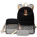 3 Pçs/set polka dot mulheres impressão mochila de lona sacos de escola para adolescentes meninas mochilas bonito schoolbag crianças saco do lápis caneta caso