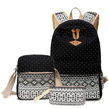 3 Шт./компл. горошек женщин рюкзак печати холст школьные сумки для подростков девочек рюкзаки милый школьный дети ручка пенал