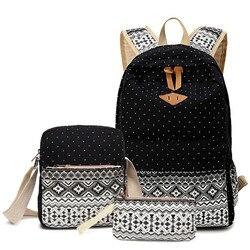 3 pcs set polka dot women backpack canvas printing school bags for teenagers girls backpacks cute.jpg 250x250