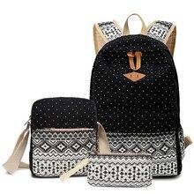 3 Unids/set polka dot mujeres mochila impresión de la lona mochilas escolares para las niñas adolescentes mochilas lindo schoolbag niños lápiz de la pluma caso