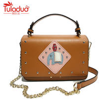 Rivets Women Messenger Bags High Quality Female Tote Bag Designer Pu Leather Women Handbags Chains Women Crossbody Bags