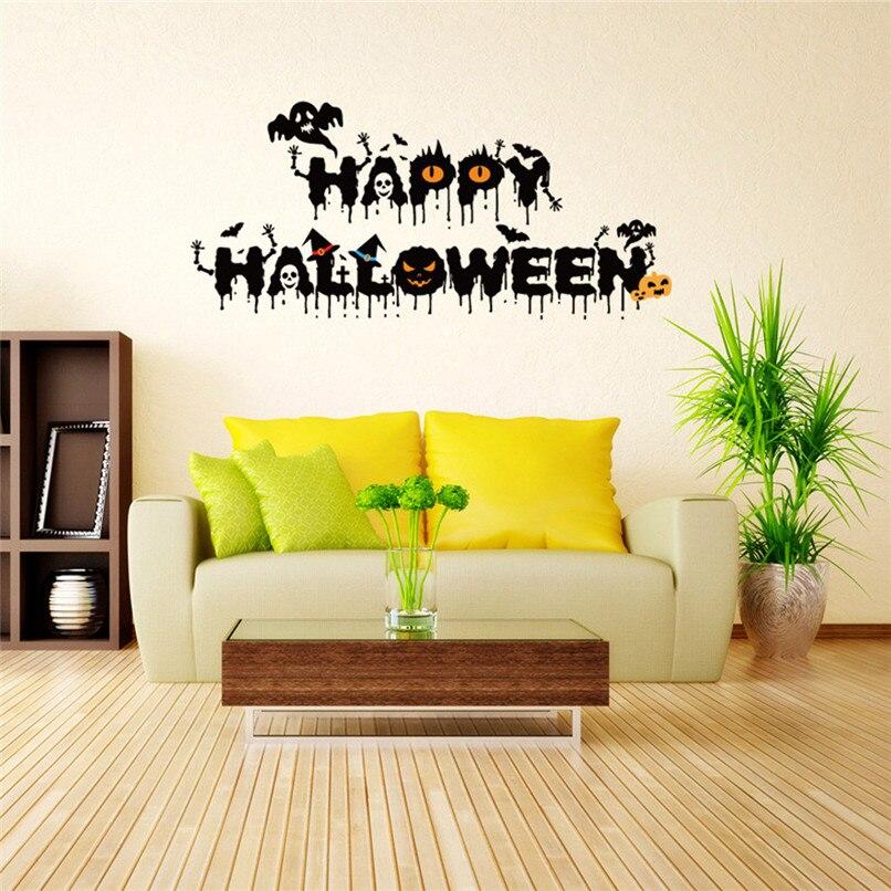 vinyl removable 3d wall sticker halloween crow devil decor decals