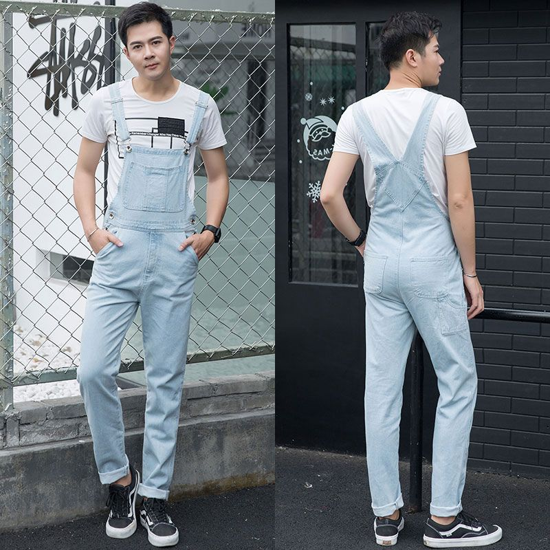 Fashion Plus Size 5XL light blue Denim Jumpsuit Spring Baggy cargo pants Loose jean bib overalls Suspenders Trousers for male 06 plus size pants the spring new jeans pants suspenders ladies denim trousers elastic braces bib overalls for women dungarees