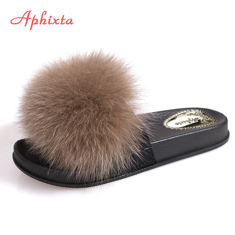 Aphixta Real Natural Mink Fur Slides Women Slippers Summer Beach Slide Flat Heels Slipper Woman Shoes Ladies Shoes Large Size 44 aimeigao large size summer slides women slippers ladies flat heels shoes open toe comfortable outside slippers women shoes