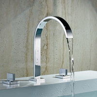 Basin Faucets Chrome Two Handles Deck Mounted Bathroom Widespread Faucet Bathroom Basin sink Mixer Tap