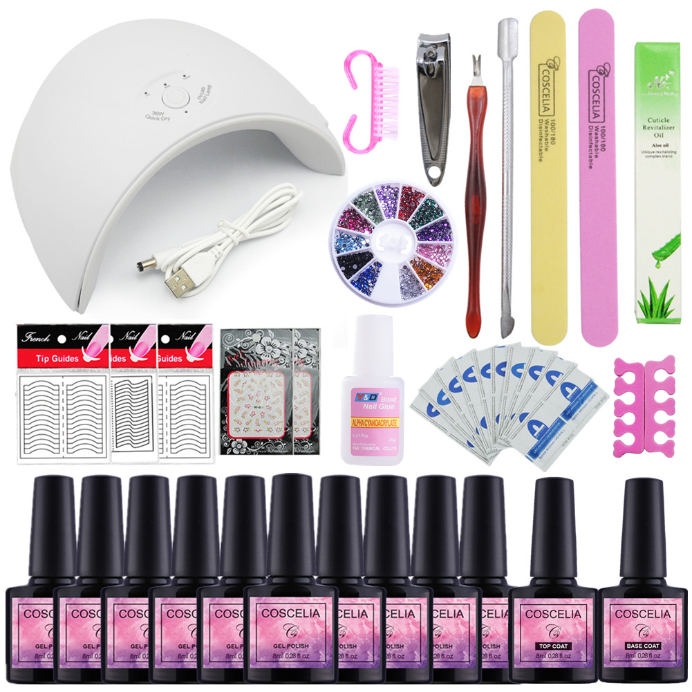 Choose 10 Gel Nail Polish Nail Sequins Top Base Coat Primer Set 36W UV LED Nail Dryer Nail Art Gel Varnish Manicure Tools Kit