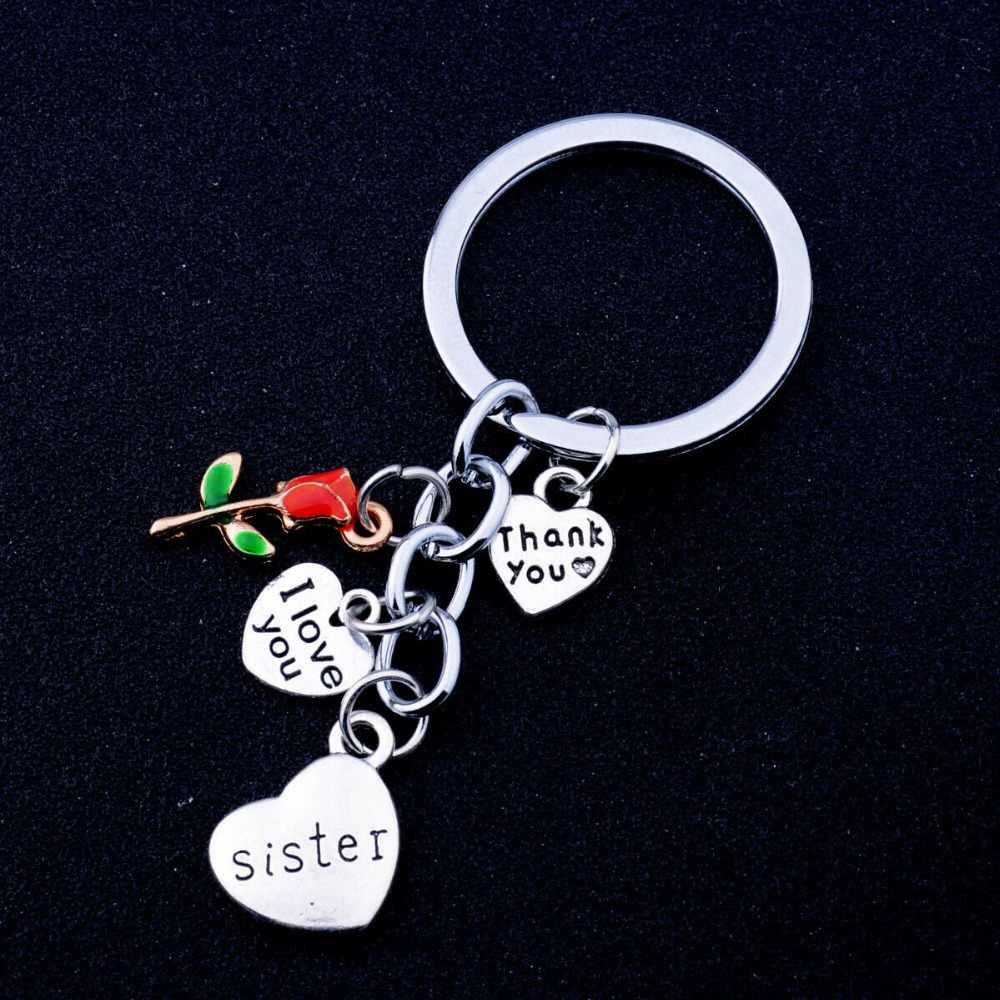 หัวใจรักวันเกิดของขวัญ Keyring ของขวัญสำหรับแม่พ่อลูกชายแม่พ่อน้องสาวลูกสาวพวงกุญแจของขวัญ keepsake Key ครอบครัว