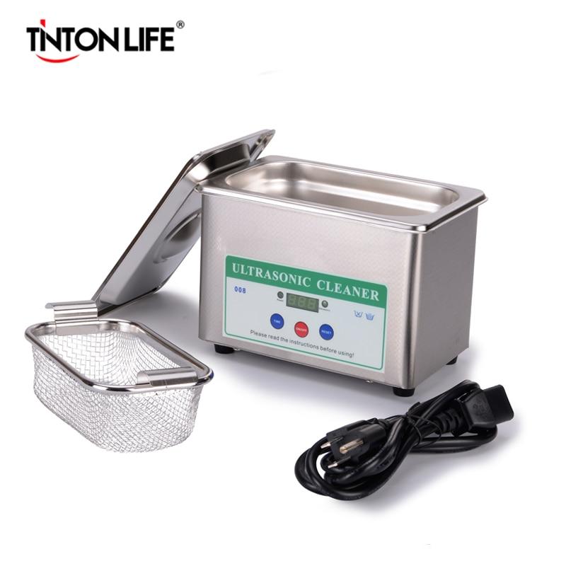 TINTON VIDA Digital Transductor Ultrasónico de Limpieza Cestas Joyería Relojes Dental Ultrasonido 0.8L Mini Limpiador Ultrasónico Baño