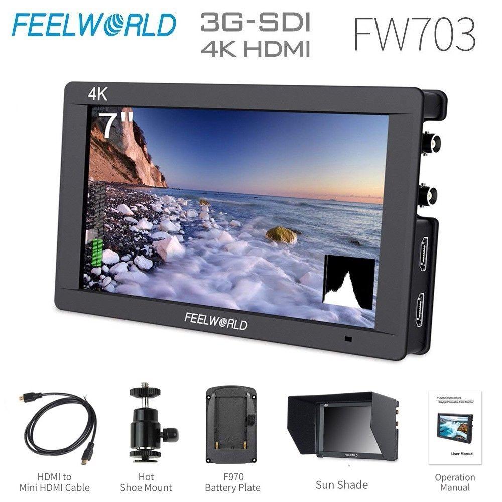 Feelworld FW703 3G SDI 4 K HDMI caméra moniteur de terrain 7 pouces IPS Full HD 1920x1200 Portable DSLR moniteur pour Sony Nikon Canon Etc.