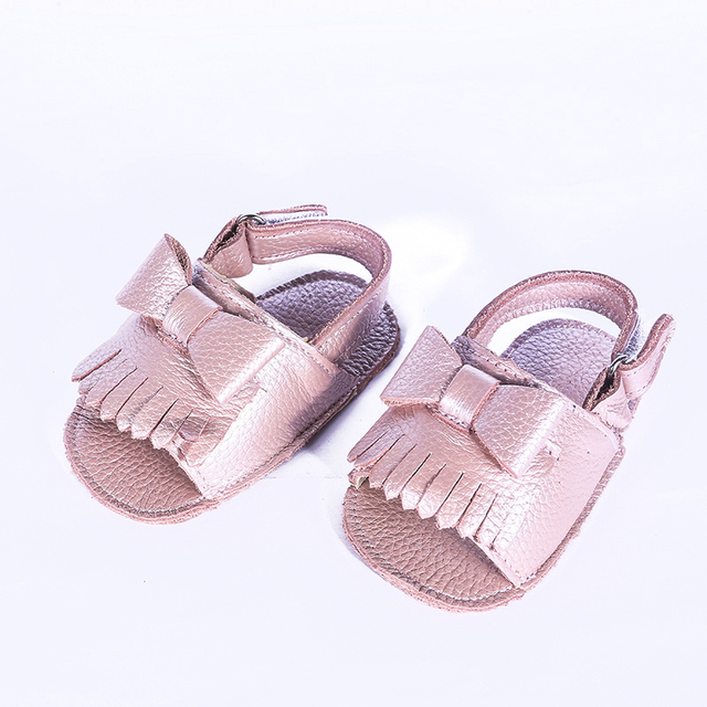 New Retail Cowhide Leather Baby girls Sandals Bow Baby moccasins Hollow out Toddler Baby girls Shoes Free shipping