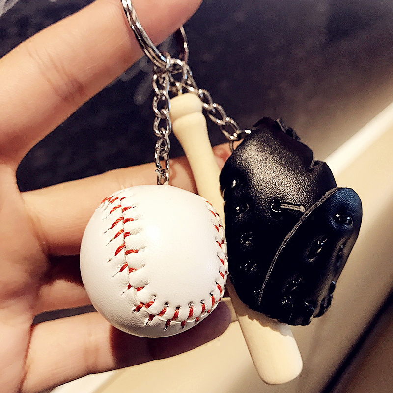 1 Pc Multicolor Men Bag Car Key Ring Glove Wooden Tennis Baseball Key Chain Holder Coupl ...